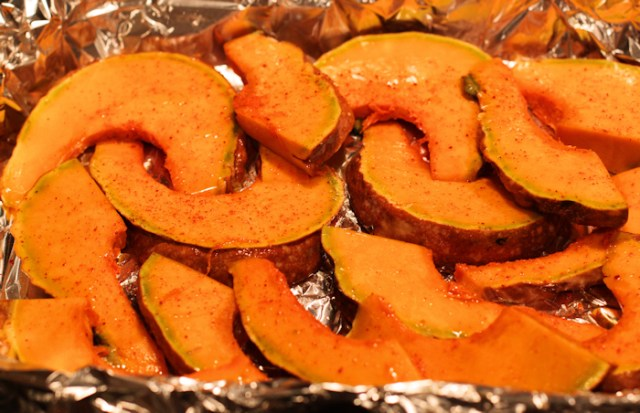 sliced squash before baking