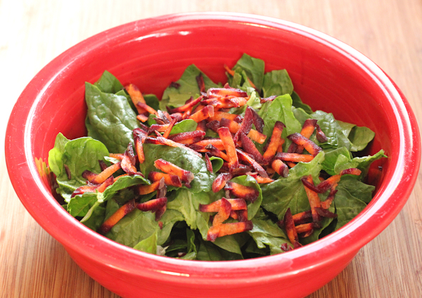 spinach salad with Purple Haze carrots