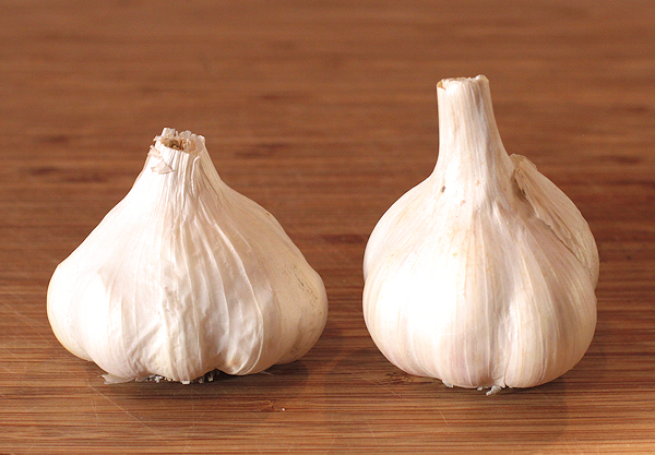 Lorz Italian(L) and Russian Red(R) garlic for roasting
