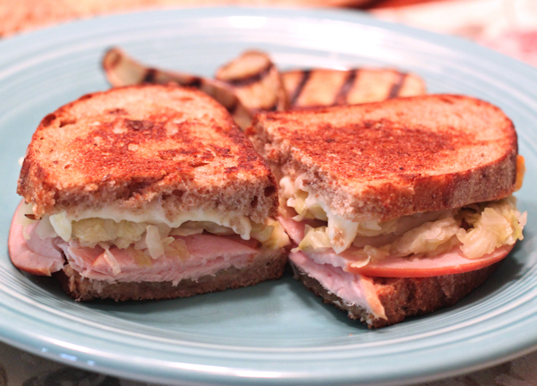 Reuben sandwich with caraway sauerkraut