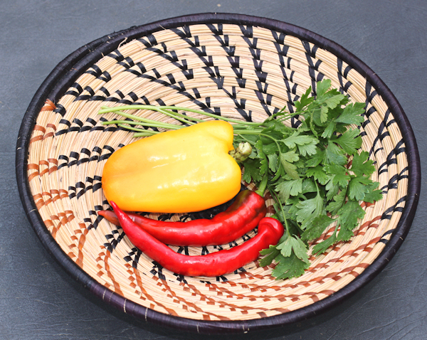 peppers and parsley for bean salad