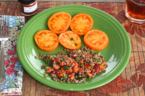 Chef's Choice Orange tomatoes with lentil salad