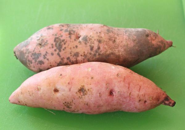Bonita sweet potatoes showing scurf