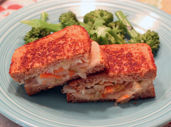 grilled kimcheese (kimchi and cheese) sandwich