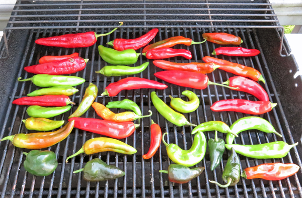 roasting NuMex peppers