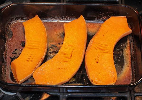 neck pumpkin pieces after baking
