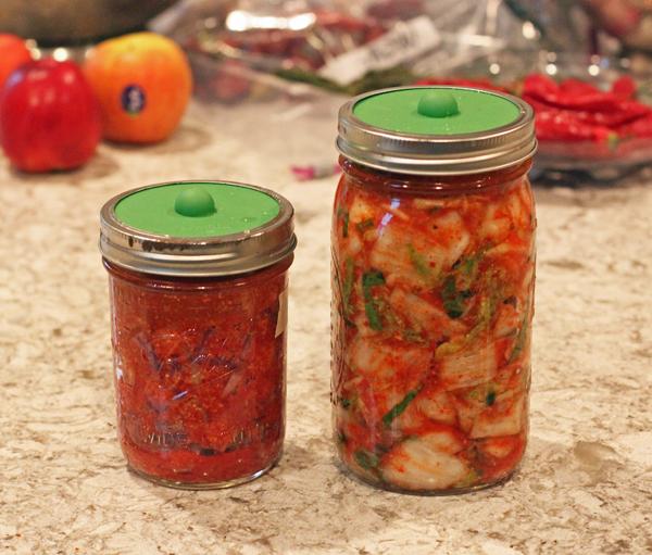 jars of kimchi fermenting