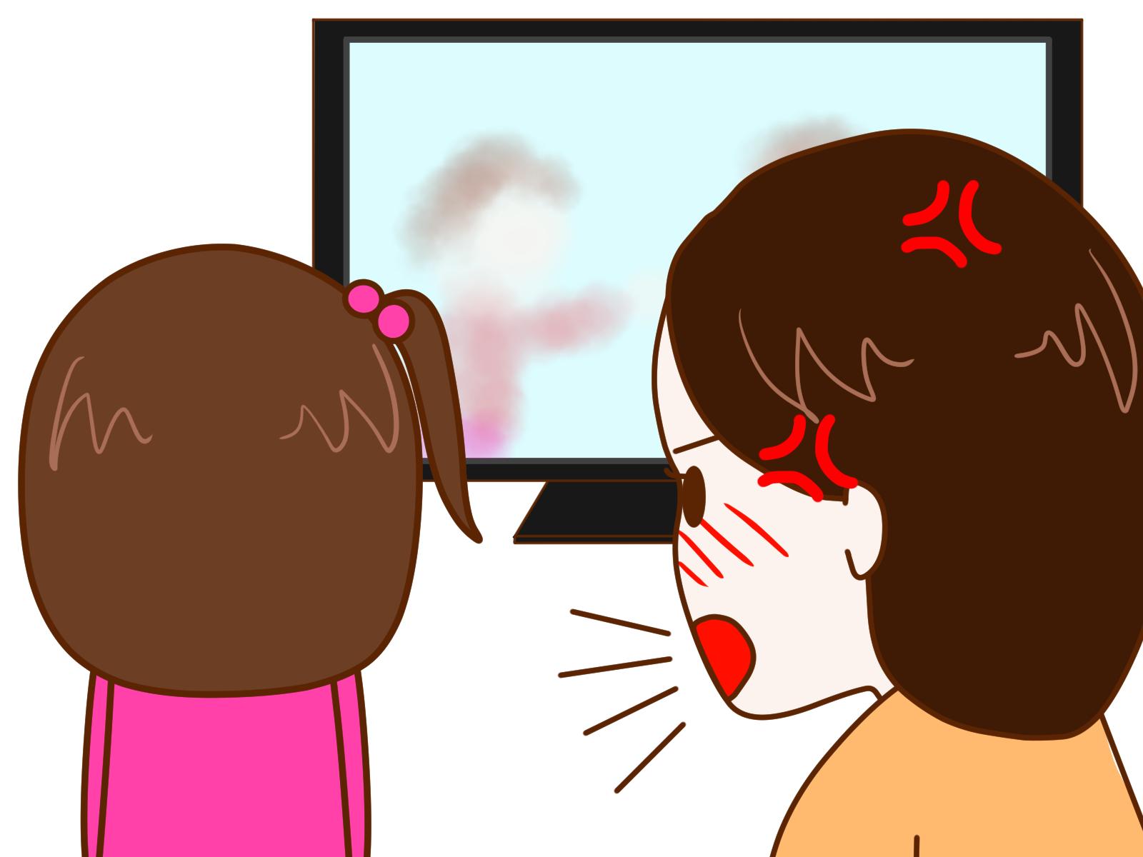子供がテレビに夢中でイライラするママ