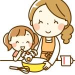 親子でお料理しているイラスト