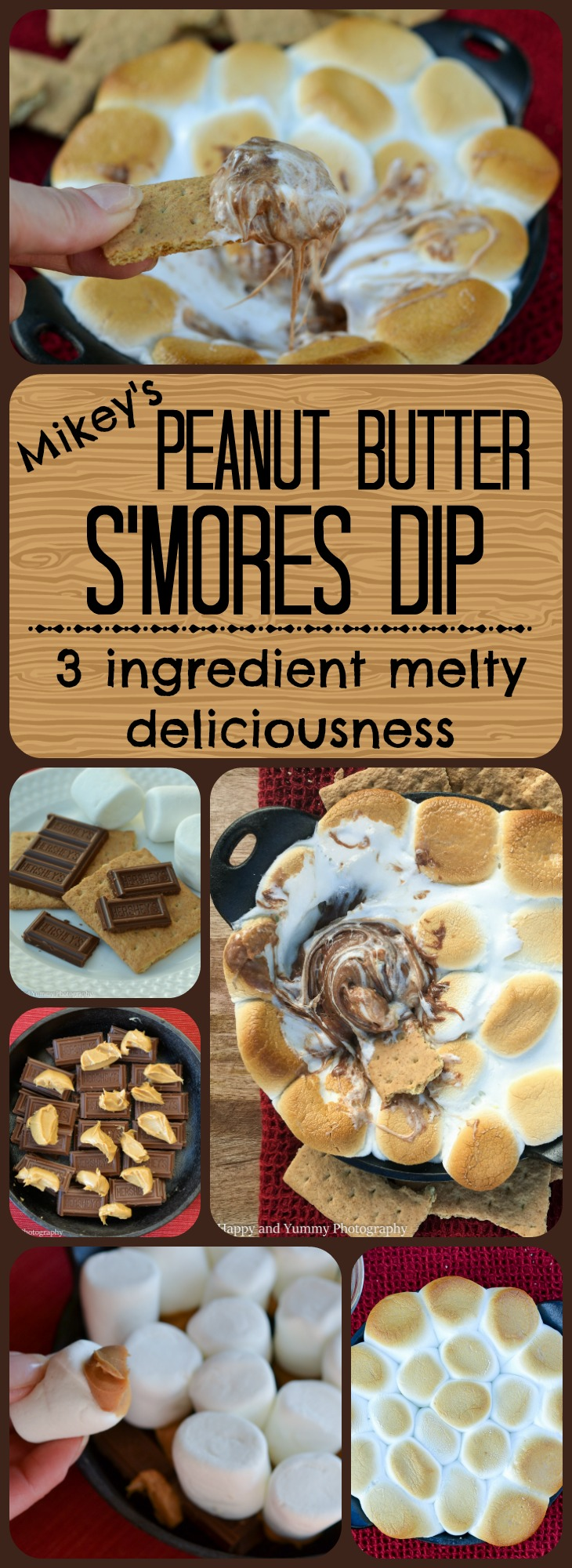 peanut butter smores dip long collage