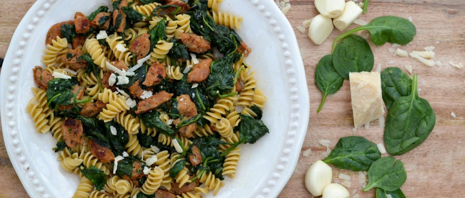 Fresh Spinach and Sausage Pasta Toss