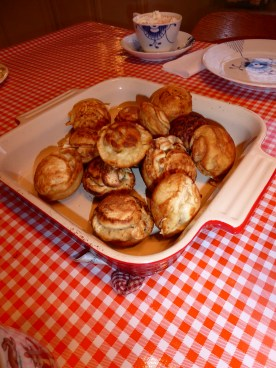 Aebleskiver and hot chocolate in Royal Copenhagen cup