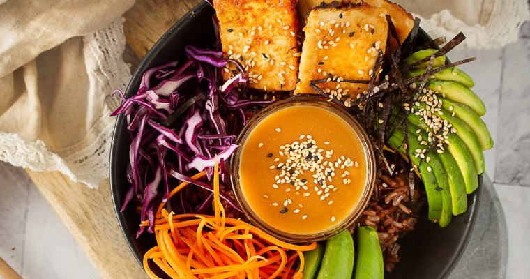 Vegan Poke Bowl with Miso Ginger Dressing for The Fabulously Single