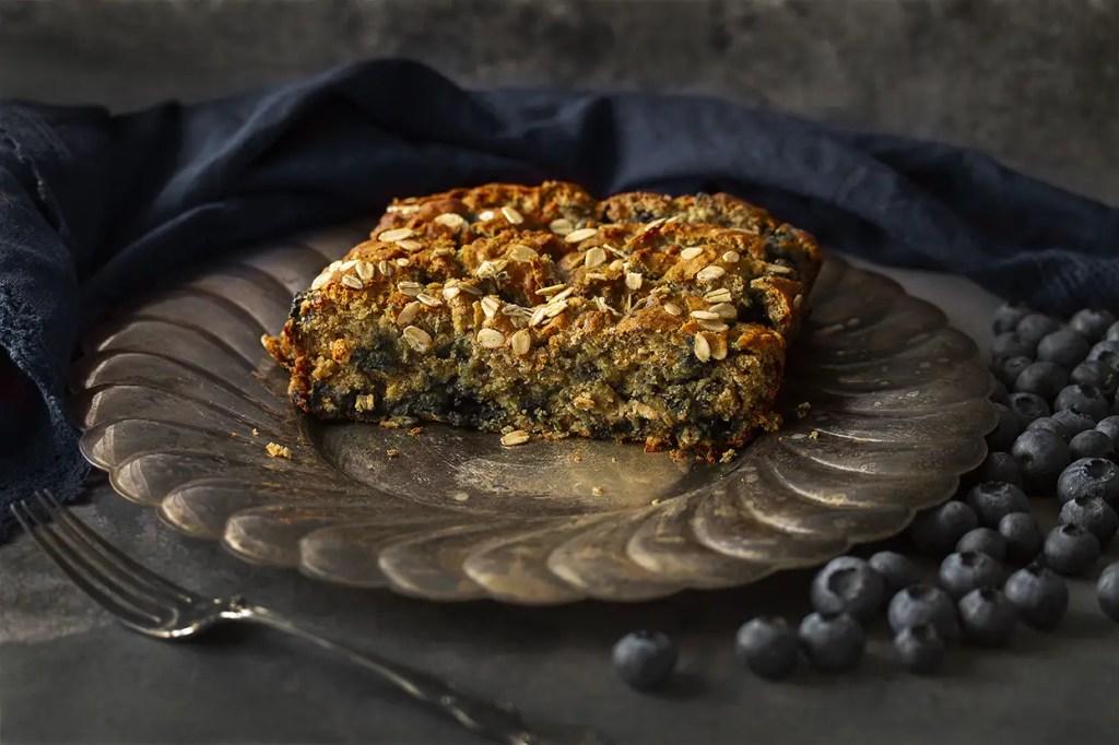 Gluten-free & Vegan Blueberry Crammed Banana Oat Loaf