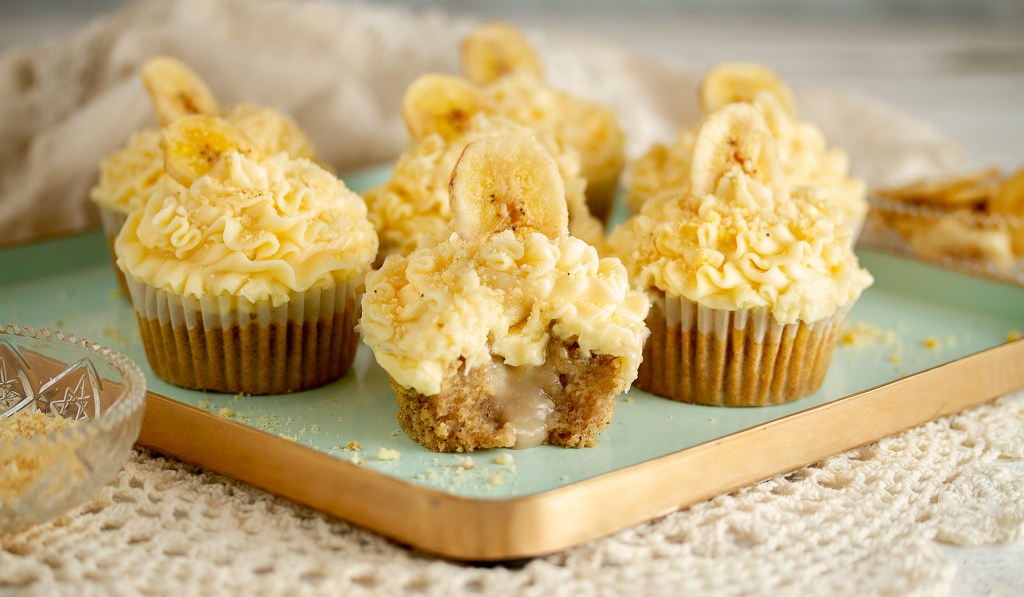 Vegan, gluten-free, dairy-free banana-cream cupcakes