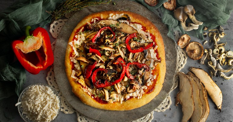 Gluten-Free and Vegan 3-Mushroom Pizza