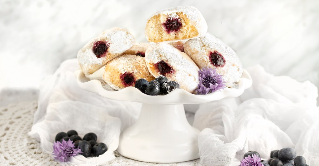 Gluten-free, vegan and Dairy Free Baked Blueberry Stuffed Donuts