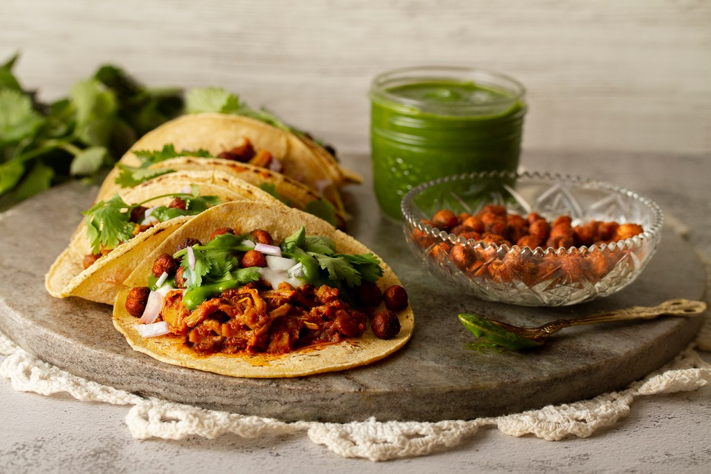 Curried Jackfruit Tacos & Coriander-Mint Chutney gluten-free, Dairy-Free & Vegan