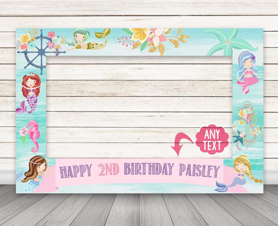 PRINTABLE Mermaid Birthday Party Photo Booth Frame – Happy Barn