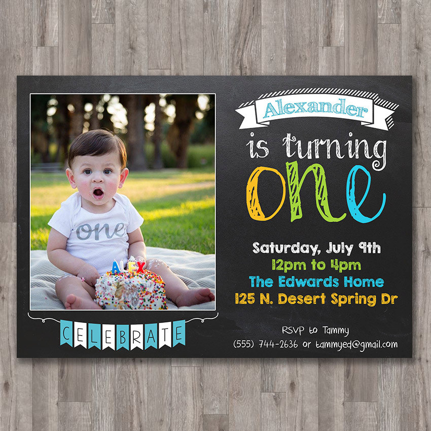 Boy First 1st Birthday Invite Printable Invitation Custom Photo ...