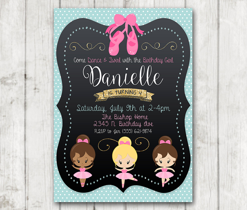 Printable Ballerina Birthday Party Invitation, Ballerina ...