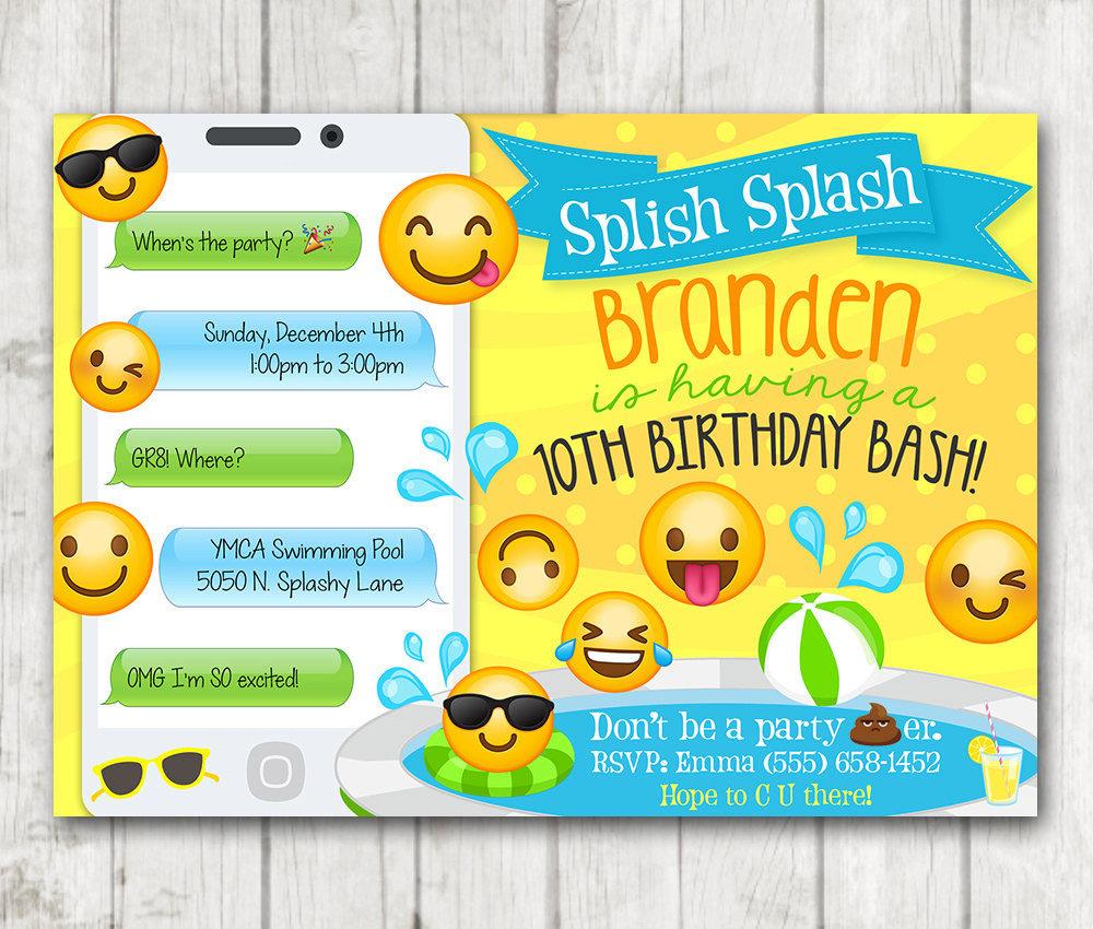 Printable Boy Emoji Pool Party Party Invitation – Happy Barn