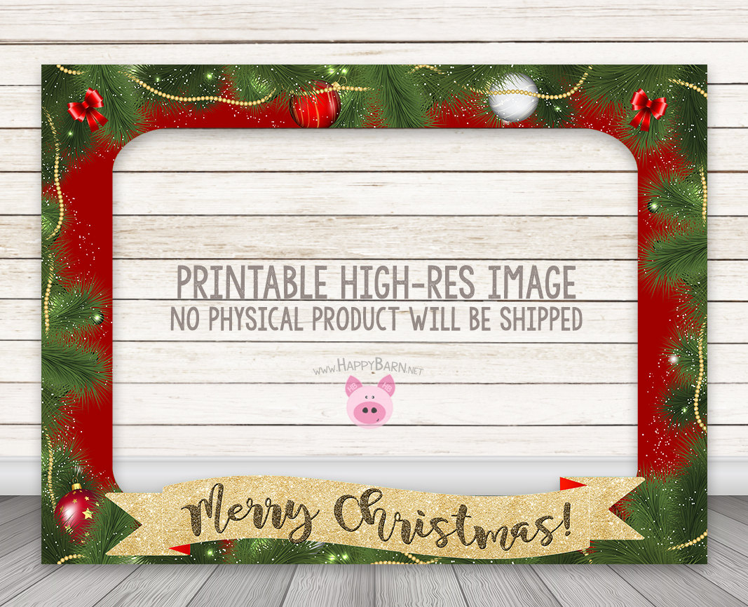 PRINTABLE Christmas Photo Booth Frame - Holiday Party Photo Booth ...