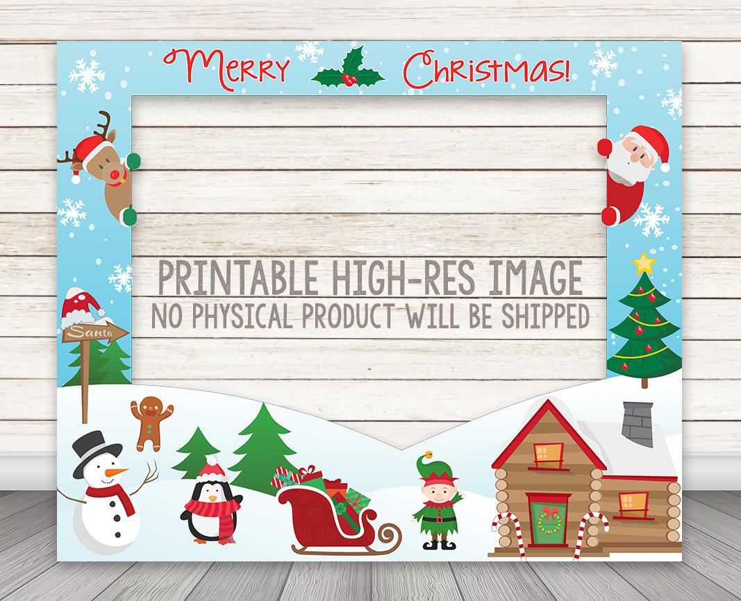 PRINTABLE Christmas Photo Booth Frame - Santa Holiday Party Photo ...