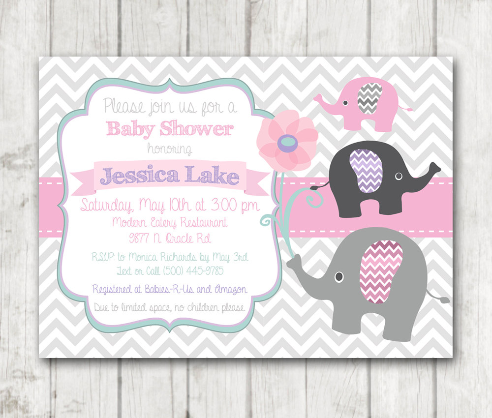 Printable Elephant Girl Baby Shower Invitation Flowers Floral Chevon Pink  Sage Mint Green White Purple Grey