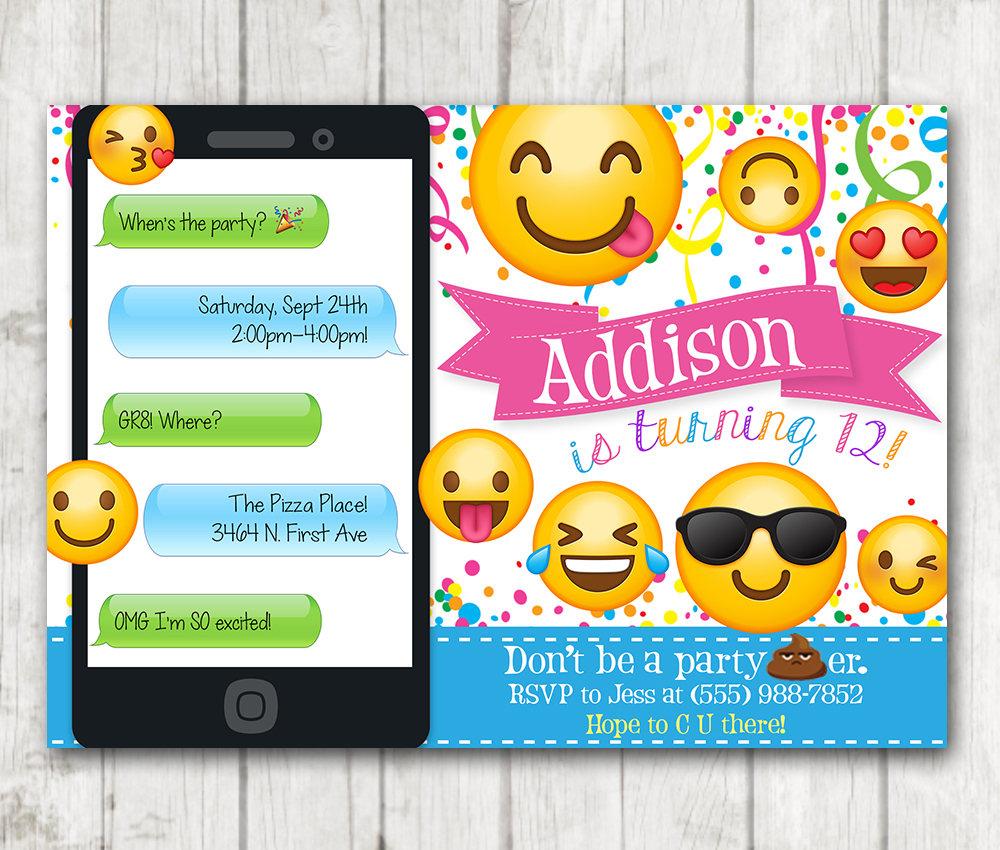 printable emoji birthday party invitations