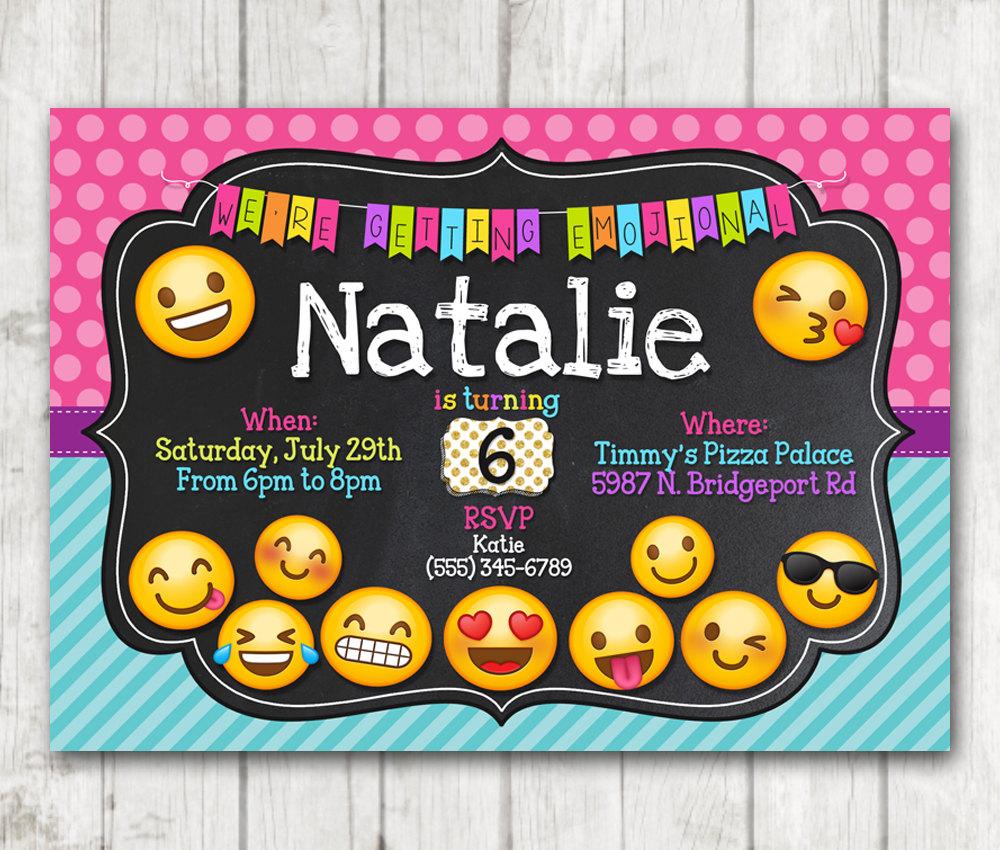 Printable Emoji Chalkboard Polka Dots Birthday Party Invitation ...
