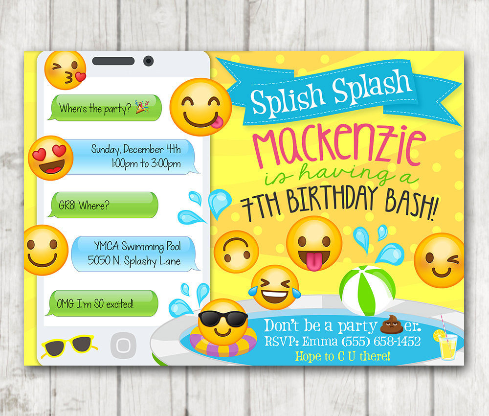 Printable Emoji Pool Party Party Invitation – Happy Barn