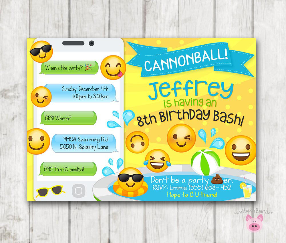 Printable Emoji Pool Party Party Invitation Swim Party Emoji