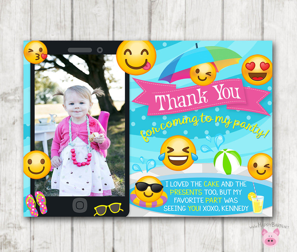 printable emoji pool party thank you cards with photo happy barn