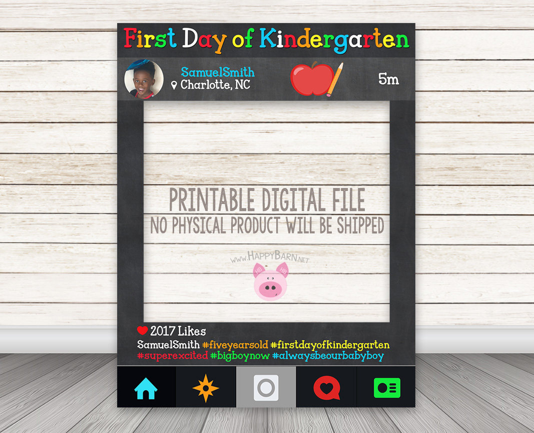 Printable First Day of School Instagram Frame – Happy Barn