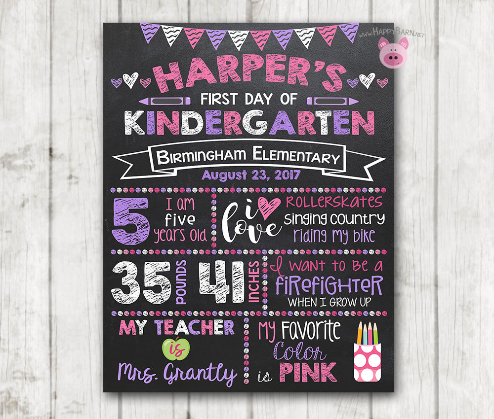 Printable First Day Of School Chalkboard Sign Vertical Happy Barn