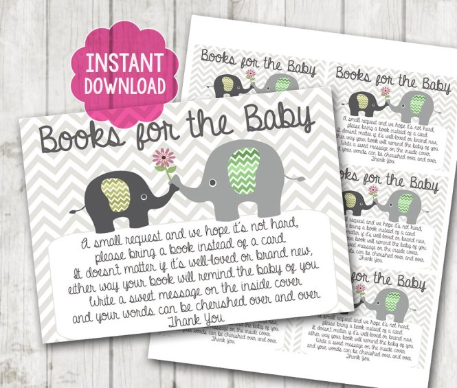 Gender Neutral Printable Bring A Book Instead Of Card Baby Shower Inserts Elephant