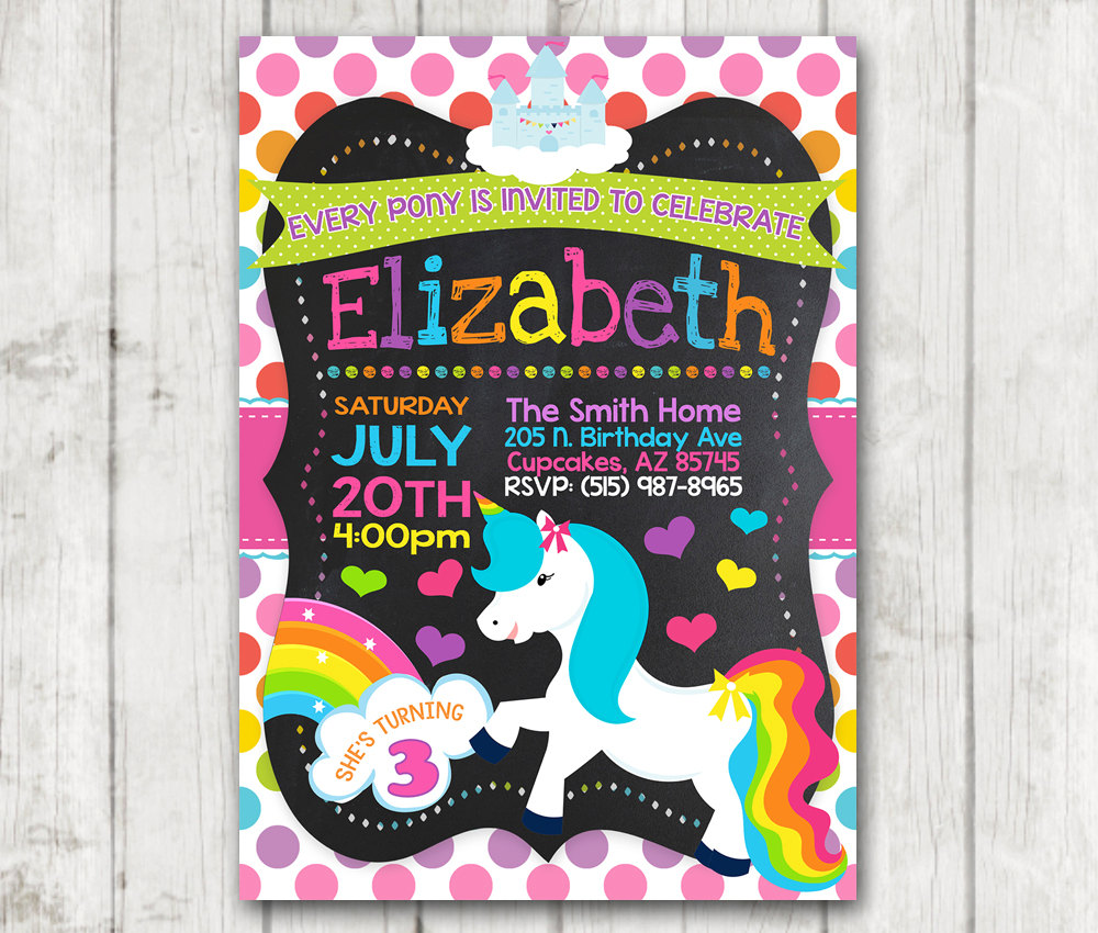 Printable Unicorn Little Pony birthday party invitations custom