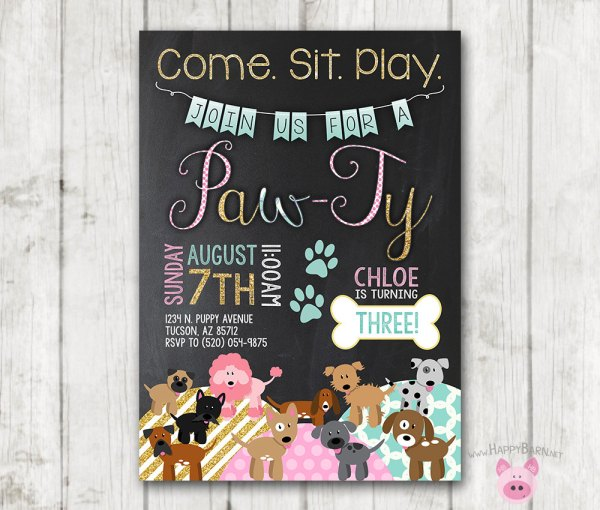 Puppy Birthday Invitations Printable Dog