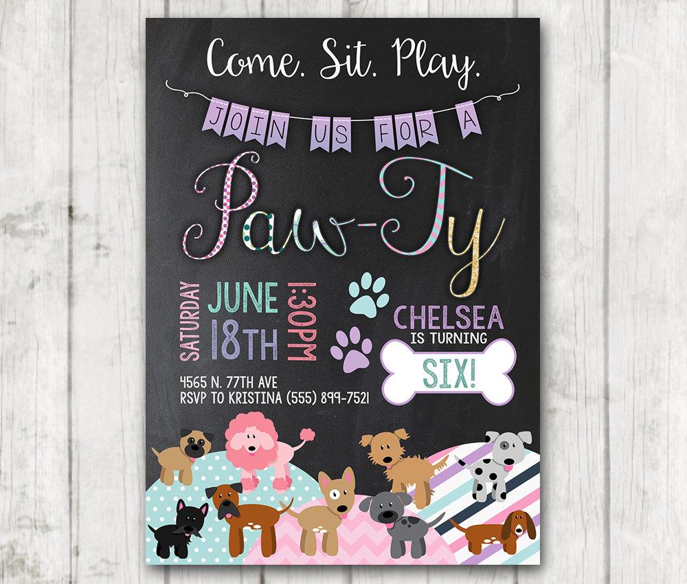 Printable Paw-ty Puppy Birthday Invitations – Happy Barn