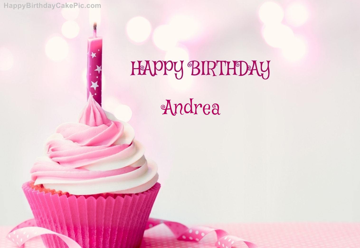 Happy Birthday Cupcake Candle Pink Cake For Andrea