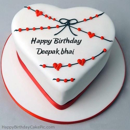Red White Heart Happy Birthday Cake For Deepak Bhai
