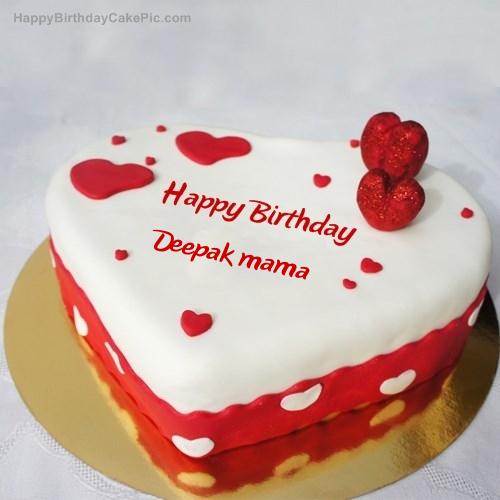 Ice Heart Birthday Cake For Deepak Mama