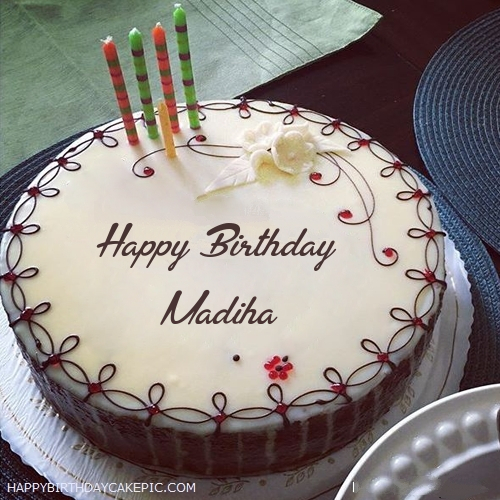 Candles Decorated Happy Birthday Cake For Madiha