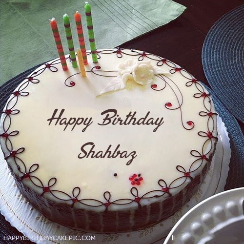 Candles Decorated Happy Birthday Cake For Shahbaz