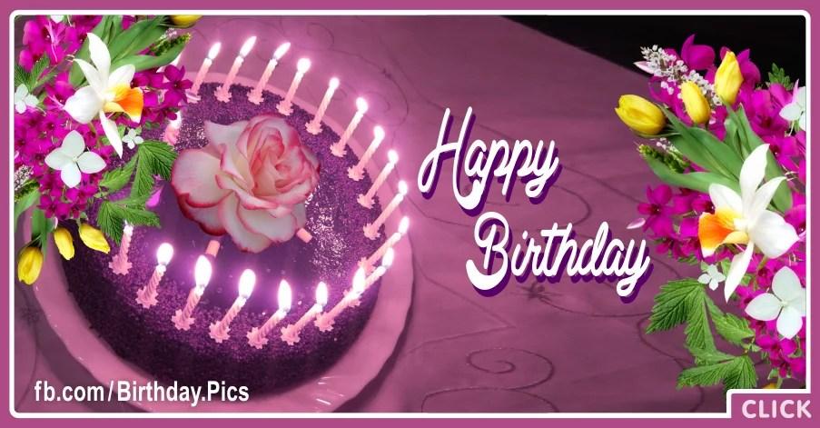 Purple Cake With Flowers Happy Birthday Card To You Happy Birthday