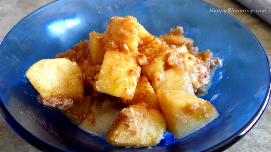 Crumble aux pommes et glace à la banane - sans gluten, vegan