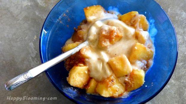 crumble aux pommes glace à la bananes vegan sans gluten sans beurre recette facile