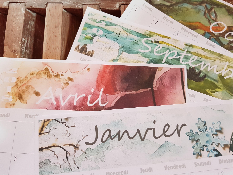 Calendrier 2018 mensuel Aquarelle - pdf imprimable gratuit