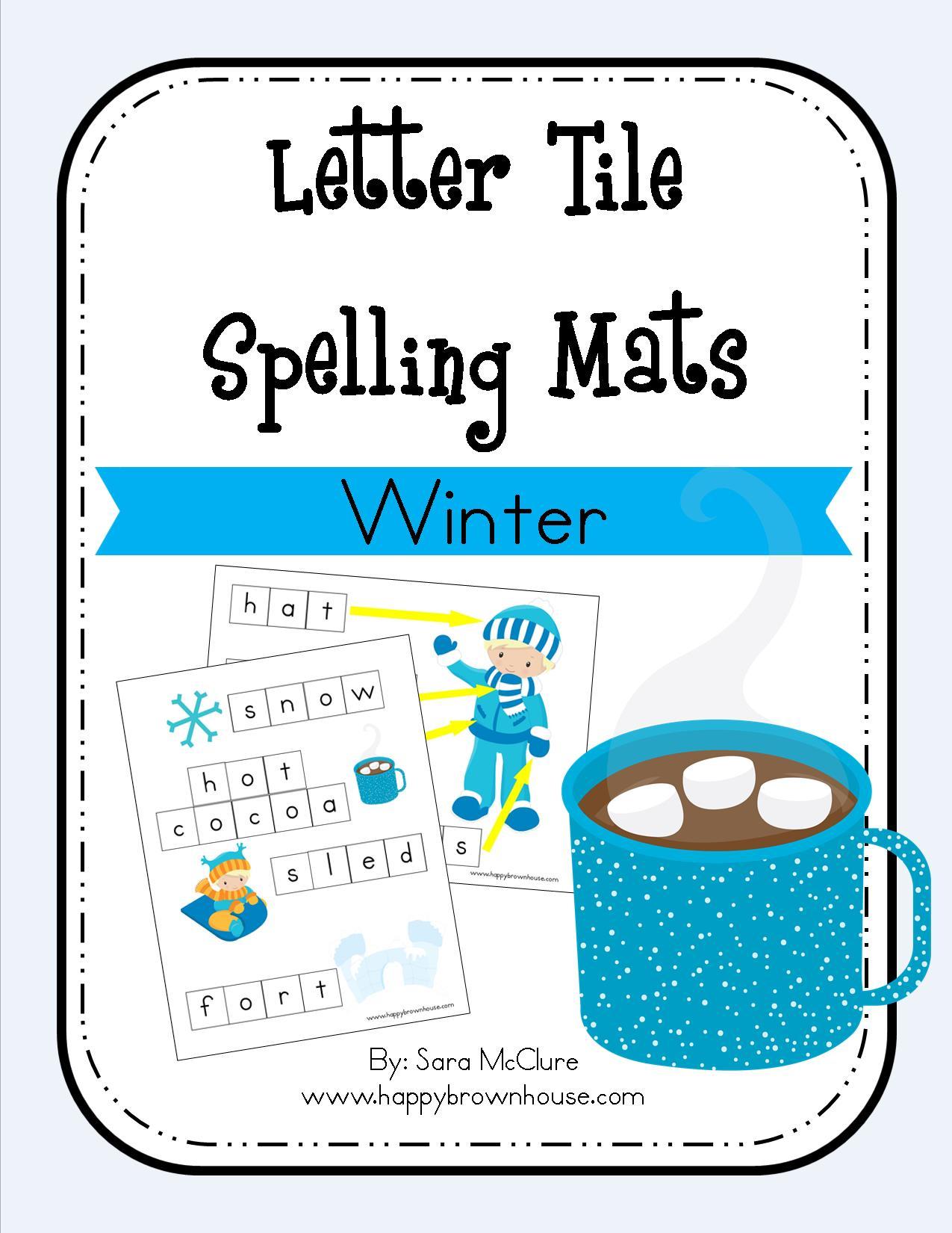Winter Letter Tile Spelling Mat